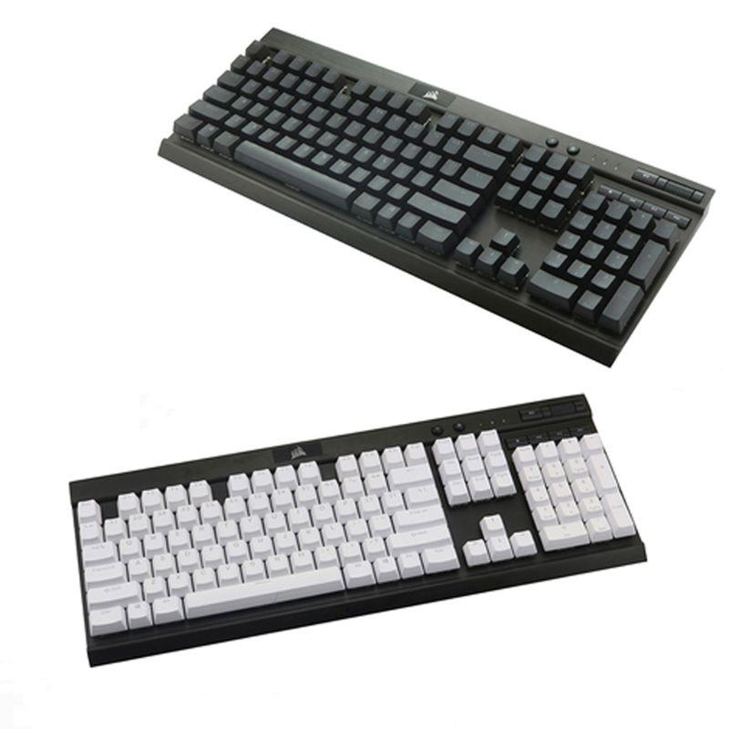 لوحة مفاتيح ميكانيكية PBT بإضاءة خلفية مزدوجة 104 ذات إضاءة علوية من خلال أغطية مفاتيح شفافة بإضاءة خلفية لـ Corsair K70 K65 K95 RGB
