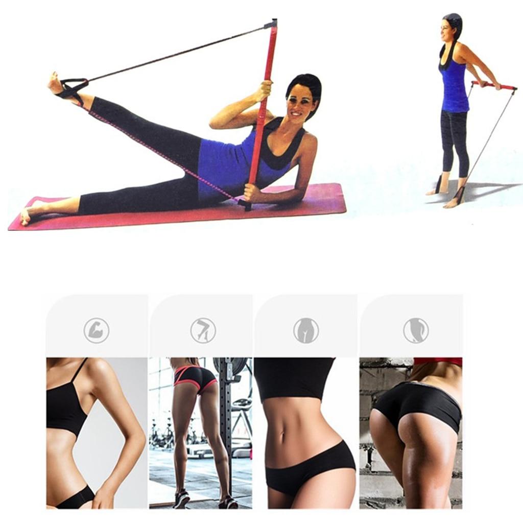 Banda de resistencia para ejercicios, Kit de barra de Pilates portátil, equipo de tonificación muscular, bandas de resistencia, conjunto de barras de Pilates