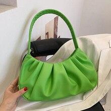 Solid Color Pleated PU Leather Shoulder Baguette Bags For Women Women's Designer Small Handbag Femal