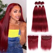 Euphorie rouge couleur paquets avec frontale bourgogne/99j brésilienne droite cheveux humains frontale avec paquet 100% Remy cheveux tissages
