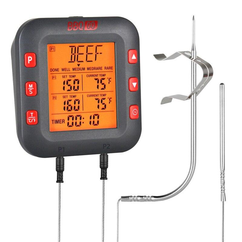 Termómetros digitales Inkbird BG-CT2C para barbacoa, cocina, termómetros para carne para ahumador, parrilla, sondas inoxidables con alarma programable y temporizador