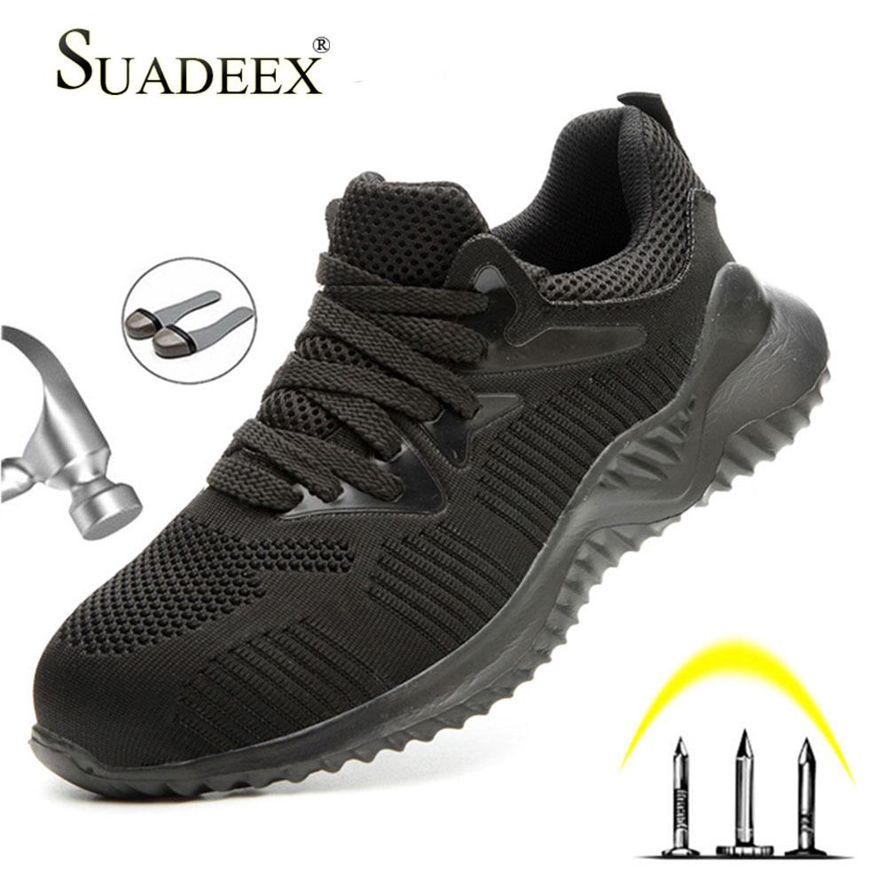 SUADEEX, zapatos de trabajo de seguridad, puntera de acero, botas de trabajo Anti-smashing, zapatos, botas de construcción indestructibles, zapatillas de seguridad masculinas para hombres