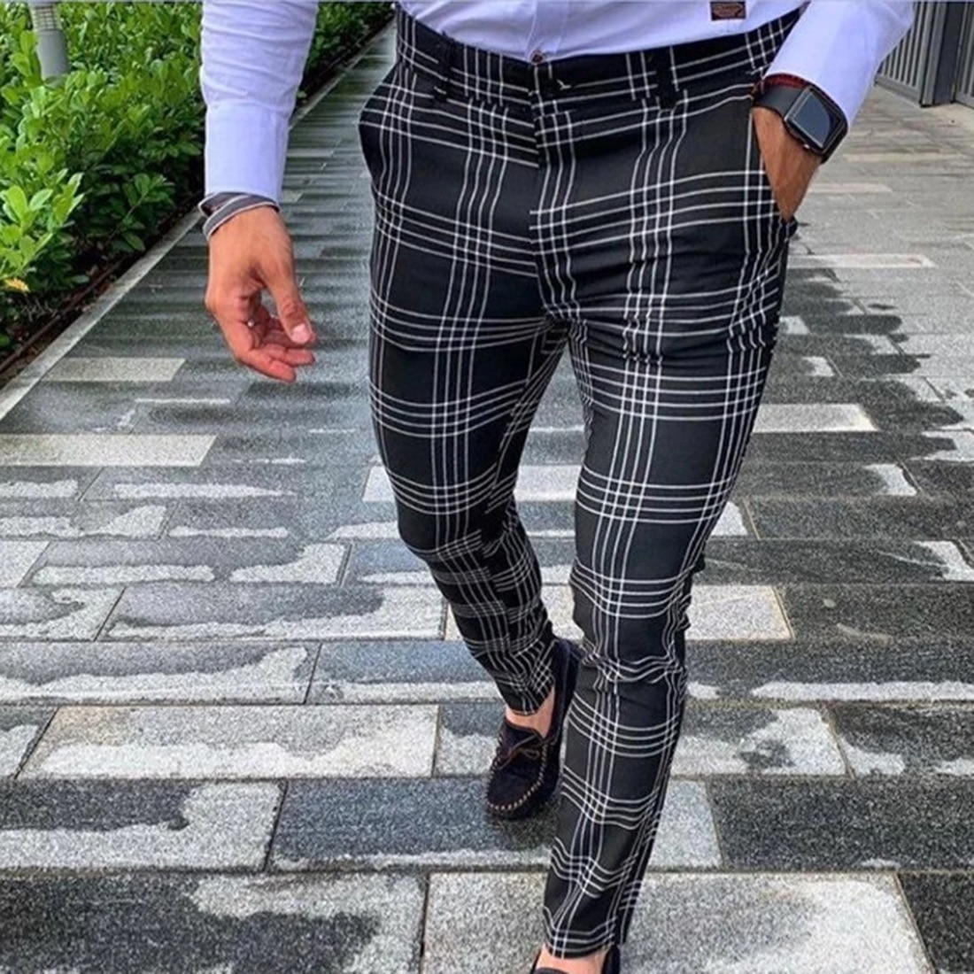 Men's Casual Pants Plaid Social Slim Fit Black Trousers Zipper Mid Waist Skinny Business Office Work Party Male Summer Stretchy