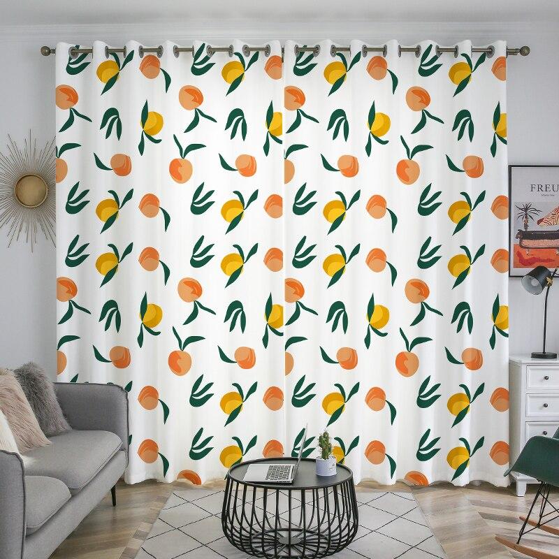 ستائر بوليستر مطبوعة 100% مطبوعة ، جودة جيدة ، لطيفة ، بشرب فاكهة ، برتقالي ، لغرفة المعيشة