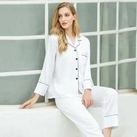 fall 2020 long womens pajamas set satin material light and breathable silky smooth womens pure color pajama set