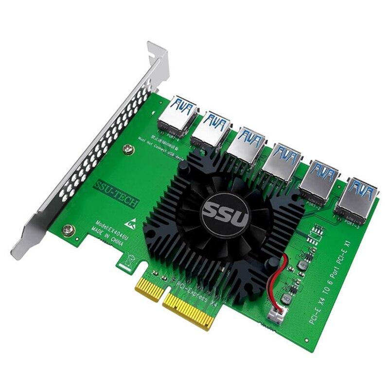 SSU PCI Express 1 إلى 6 بطاقة الناهض PCI-E إلى PCI-E محول PCIE 4X إلى 6 منفذ USB 3.0 موسع الناهض لتعدين جهاز تعدين بيتكوين