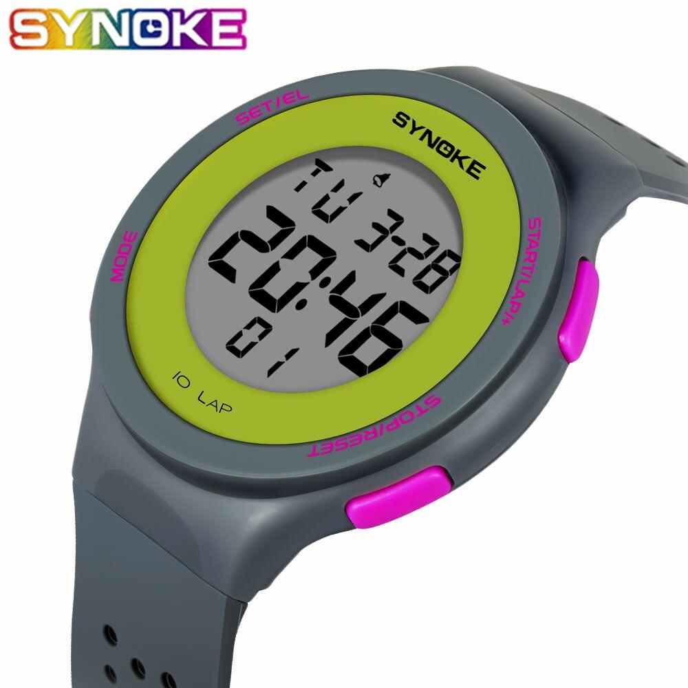 SYNOKE-reloj Digital deportivo resistente al agua, relojes luminosos con LED Digital de 50m para hombre y mujer, relojes deportivos militares para hombre