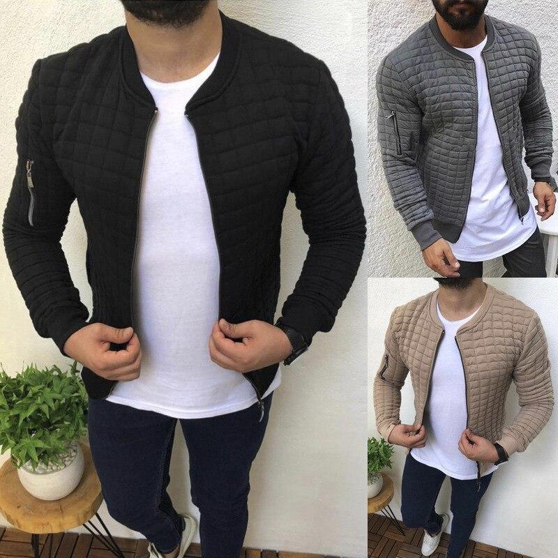 Новая модная спортивная повседневная мужская куртка, Мужская Осенняя облегающая куртка на молнии, Кардиган с длинным рукавом, мужская курт...