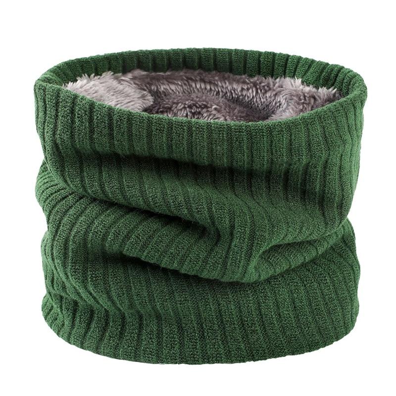 Unisex Knitted Warm Scarf Winter Autumn Ring Women Bandana Solid Scarf Fleece Men Neck Scarf Shawl