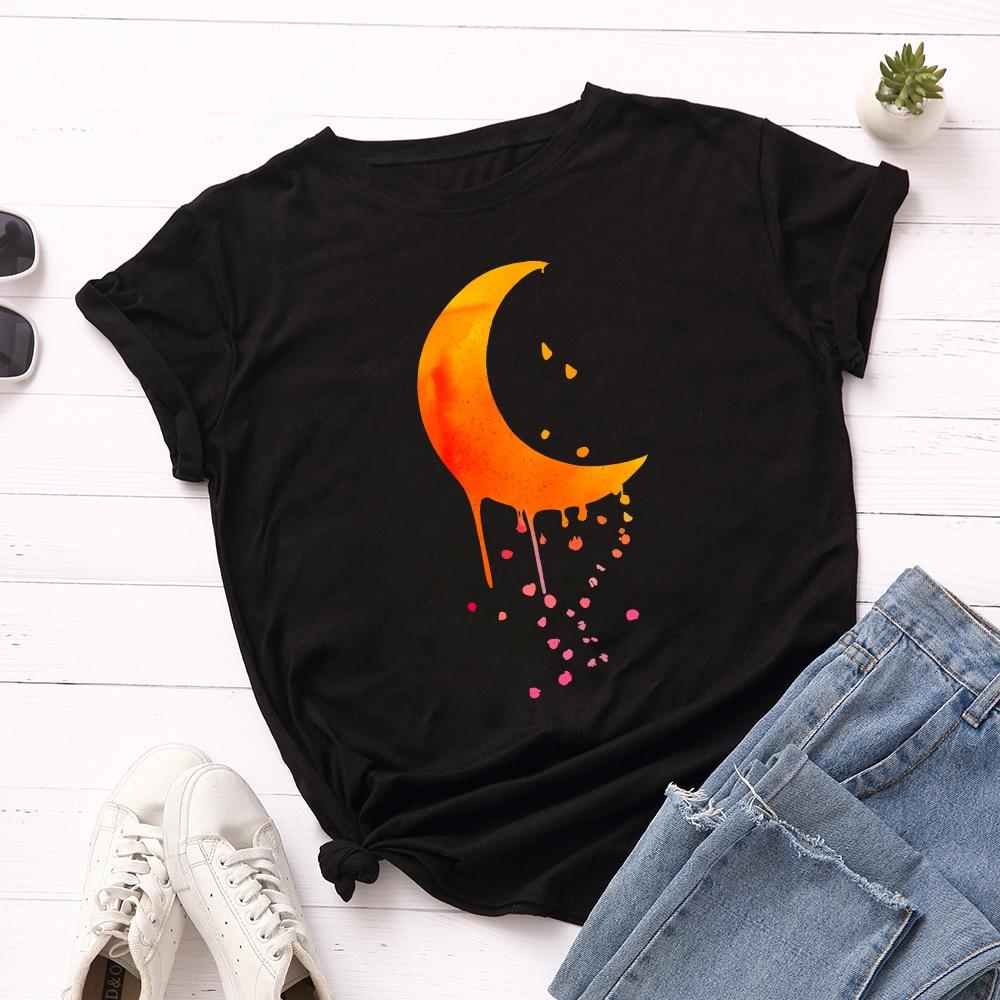 Camiseta con estampado de Luna naranja para Mujer, blusa holgada de manga...