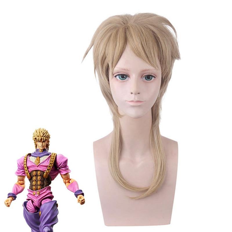 JoJos Bizarre Adventure Golden Wind DIO BRANDO Cosplay Wig 45cm Heat-resistant fiber hair Costume Role Play Wigs+ Wig Cap