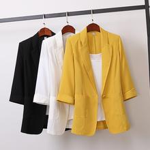 2019 New Spring Autumn Fashion Linen Thin Medium long Blazers Women Loose Plus Size Coats Office Lady Wear blazer feminino Mw794