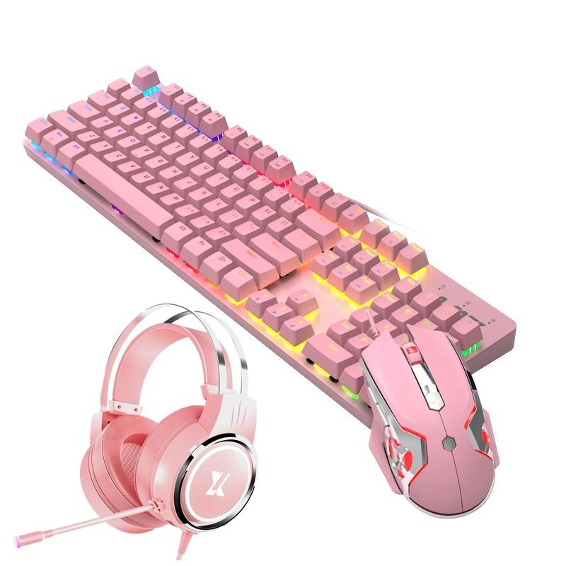 الوردي الحقيقي الميكانيكية لوحة مفاتيح وماوس مجموعة مع الأزرق التبديل لطيف الفتيات E-sports ألعاب الكمبيوتر ملحقات لوحة المفاتيح
