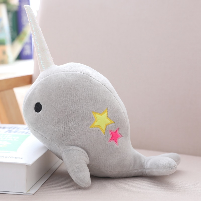 Hot Plush Toys Stuffed Sea Animals Doll Cute Blue Whale With horn Kawaii Shark pillow Christmas Gift For Children Home Decor  - buy with discount