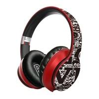 wireless bluetooth 5 0 headphones over ear headest graffiti design foldable headphone with mic hi fi stereo for phone pc laptop