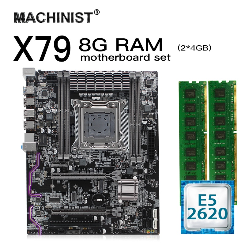 X79 LGA 2011 kit de carte mère X79 VER 2.4F atx avec Intel Xeon E5 2620 CPU 8G(2*4GB) 1600mhz REG ECC RAM M.2 NVME SSD