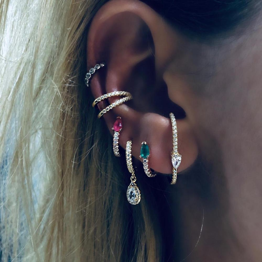 5 colors teardrop birthstone cz mini small huggie hoop earring minimal delicate multi piercing small earrings
