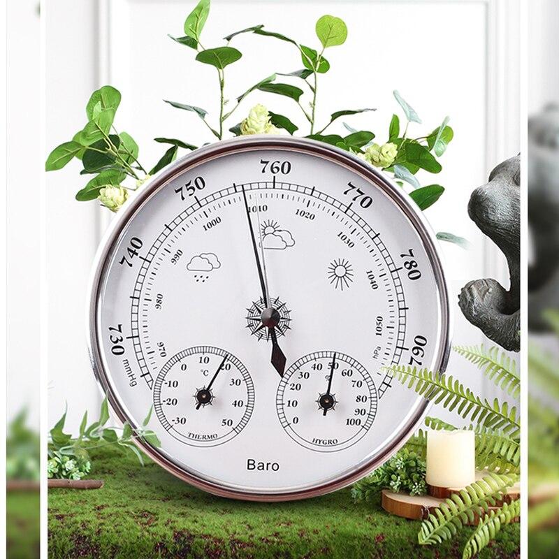 Indicador de temperatura y humedad 3 en 1, estación meteorológica colgante para pared, barómetro, termómetro, higrómetro