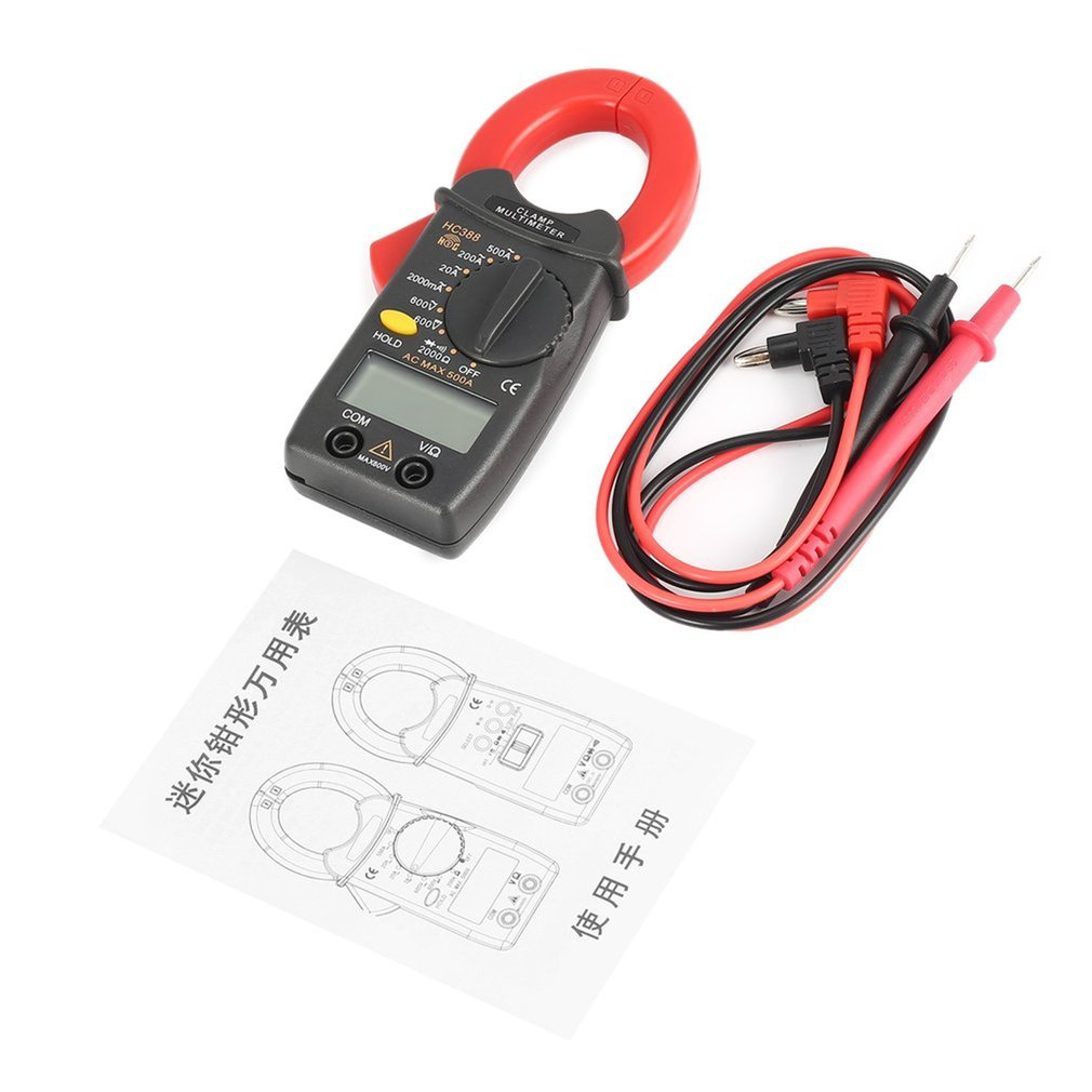 HC388 Mini Digital Clamp Meter Multimeter AC/DC Voltage Current Ohm Diode Tester 1999 Counts Data Hold Handheld qq2 0 compact analog multimeter ac dc voltage current mini multimeter use for home and student applicable