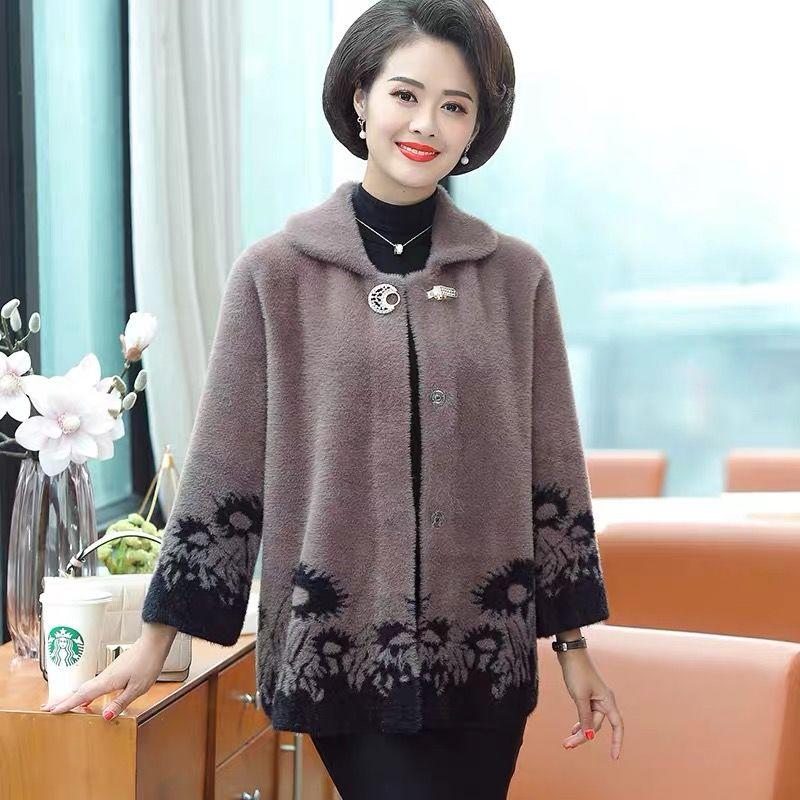 Meia-idade feminina moda falso vison pele outercoat feminino casual fino malha casacos senhoras curto turn-down collar cardigans z173