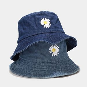 Ins Daisy Bucket Hat Women Korean Fashion Denim Hats Outdoor Sun Protection Men's Panama Cap Girls Casual Fisherman Caps