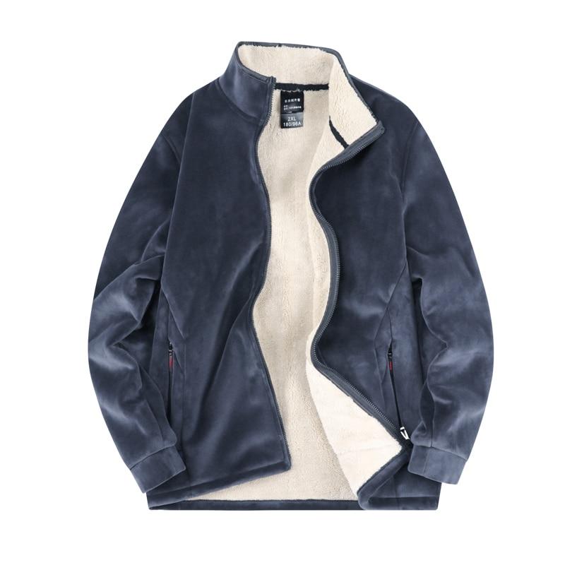 Мужская Флисовая Куртка, Повседневная ветровка с Анорак, верхняя одежда, плотное теплое плюшевое пальто большого размера, Мужская черная па...