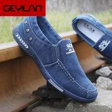 Coslony Fashion Men Canvas Shoes Male Summer Casual Denim Shoes Mens Sneakers Slip On Loafers Drivin