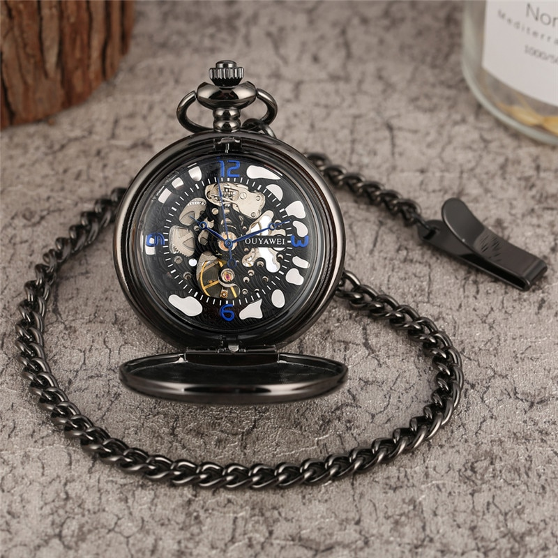 Vintage Hand-winding Mechanical Pocket Watch for Men Women Arabic Numerals Dial Pendant Chain Smooth Case Antique Clock Gift peacock cover hollow out pocket watch for women arabic numerals dial clock male necklace vintage slim chain pendant zakhorloge