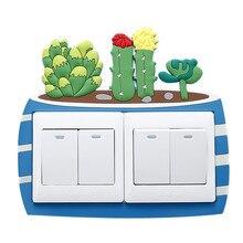 Décor Cactus pour chambre denfant   Autocollant mural Fluorescent en Silicone avec Double interrupteur, sortie de lumière lumineuse sur interrupteur, dessin animé 3D