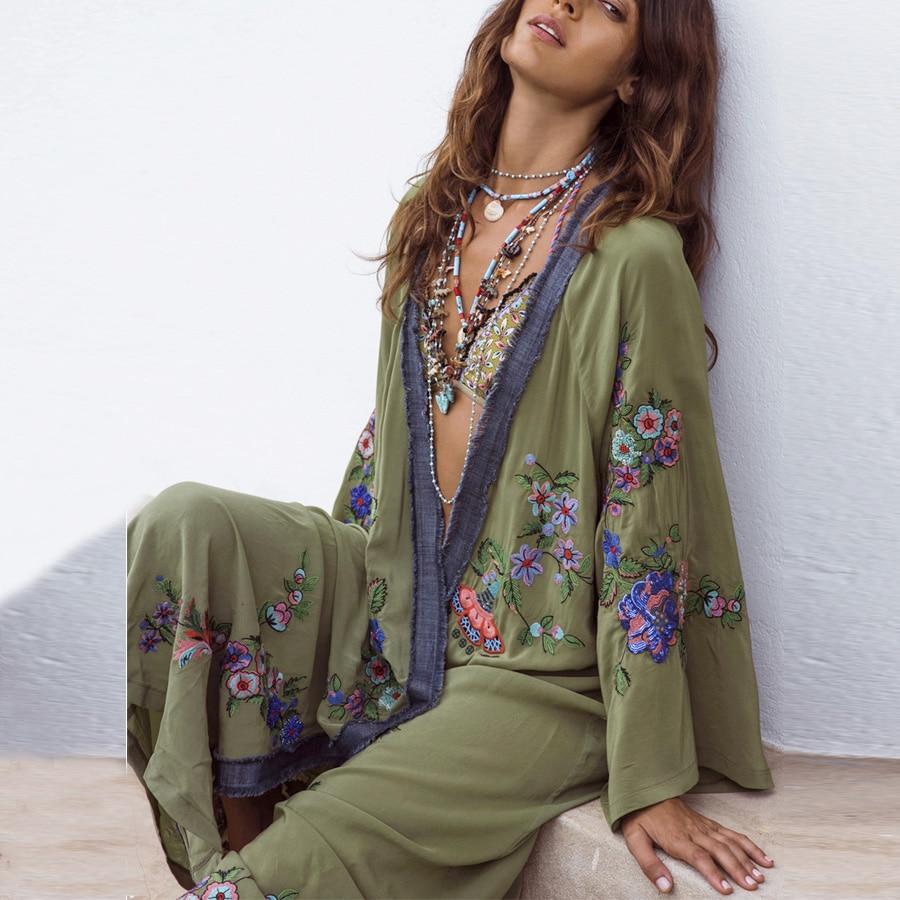 TEELYNN Long Boho Cardigan Light Green Floral Embroidery Beach Bikini Cover Up Kaftan Kimono Robe Summer Loose Women Blouses