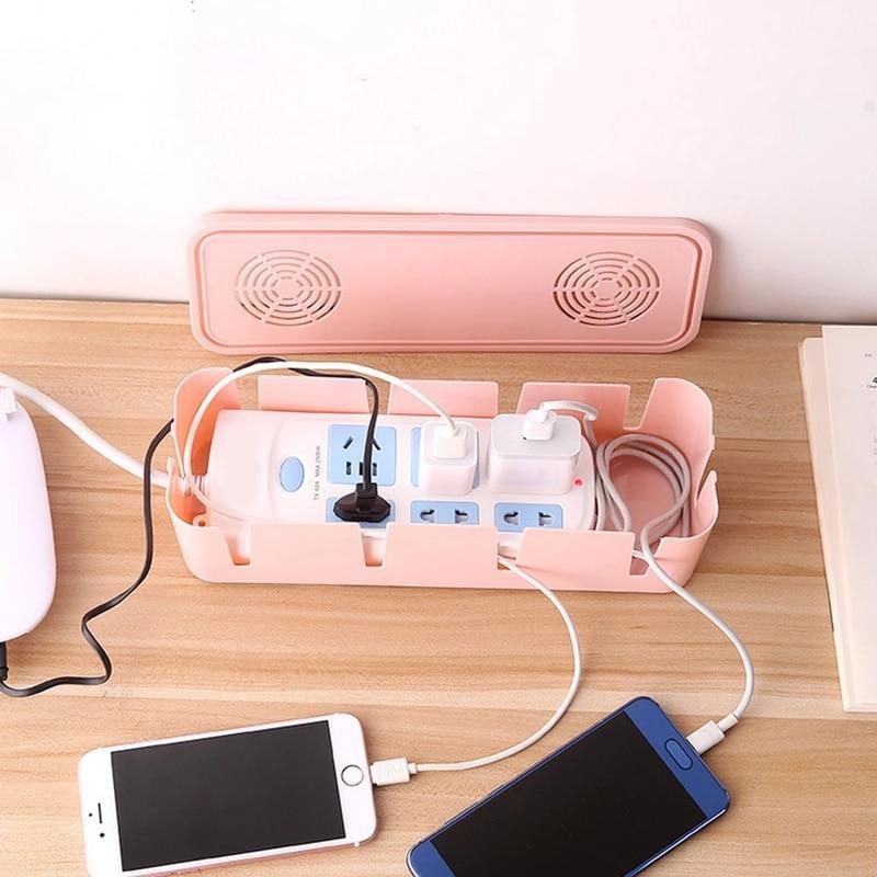 Household Office Cable Storage Box Wire Management Power Strip Wire Case Anti Dust Socket Organizer Network Line Storage Bin power cord wire centralized storage box green