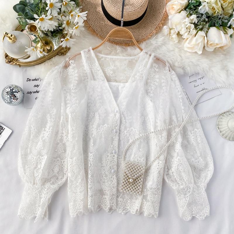 Foamlina Elegant White Lace Shirt Women Blouse Sweet Ladies Embroidery Shirt Long Lantern Sleeve Hollow Out Tops Blusas Feminine
