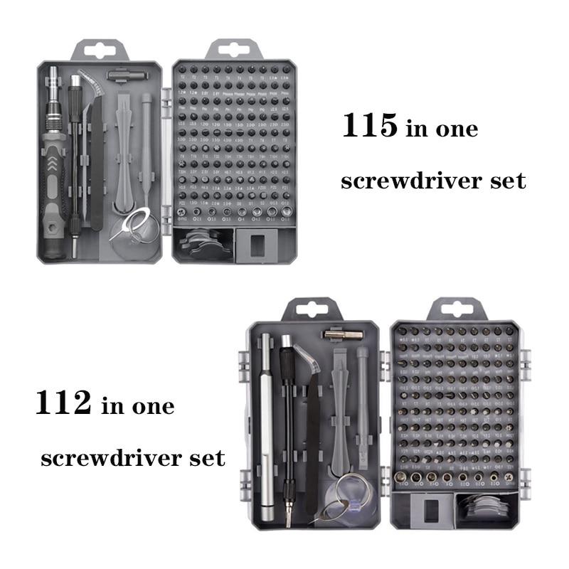 New 115 In 1 Multi Screwdriver Set Precision Torx Hex Screw Driver Bit Kit Magnetic Bits Tools Repair Mobile Phone Laptop Hand