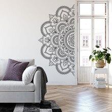Demi Mandala Stickers muraux décorations pour la maison salon symétrique Structure fleurs vinyle mur décor Stickers chambre Boho A419