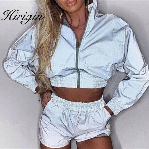 Chaqueta reflectante para mujer, chaqueta informal de abrigo de manga larga para discoteca, Top corto + Pantalones cortos, traje deportivo con cremallera para mujer