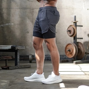 Casual Men Quick Dry Sports Shorts Double-deck Solid Color Half Pants Fitness Clothing for Training Fitness Body Building