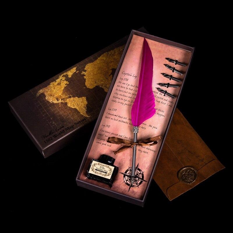 アーミーグリーン羽ペンヴィンテージクイルディップペンシルバーロッド万年筆ギフトボックスセットクリエイティブ誕生日プレゼントの学生オフィス用品