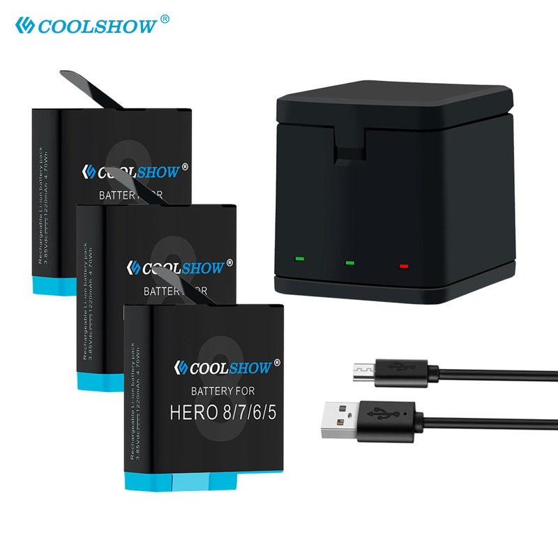 Battery 801 for GoPro Hero 8 Hero 7 Hero 6 Hero 5 Black 1220mAh Li-ion AHDBT-801 Batteria Charger Camera Accessories AHDBT801 telesin 3 way led battery charger 3 battery pack charging box type c cable for gopro hero 8 7 6 hero 5 black accessories set