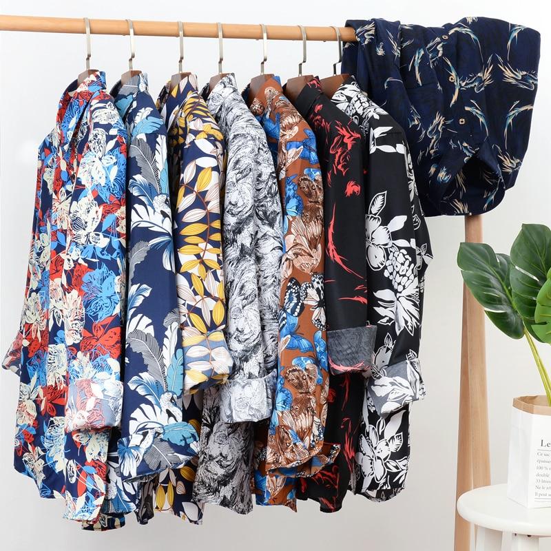 Новинка осени 2021, мужская рубашка с цветочным принтом, повседневная свободная Мужская брендовая одежда с длинным рукавом, женская одежда, 5XL...