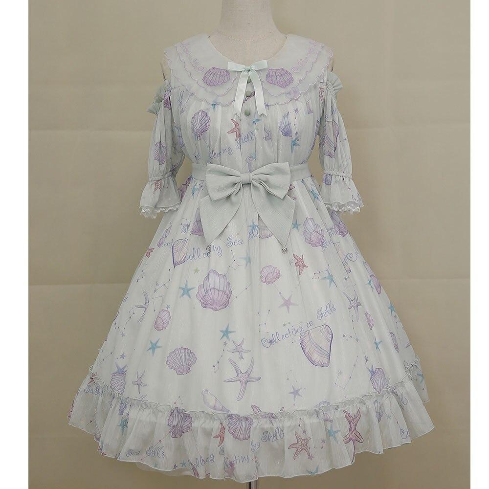 Star Fish & Shells ~ Sweet Printed Lolita Dress Cold Shoulder Short Sleeve Party Dress