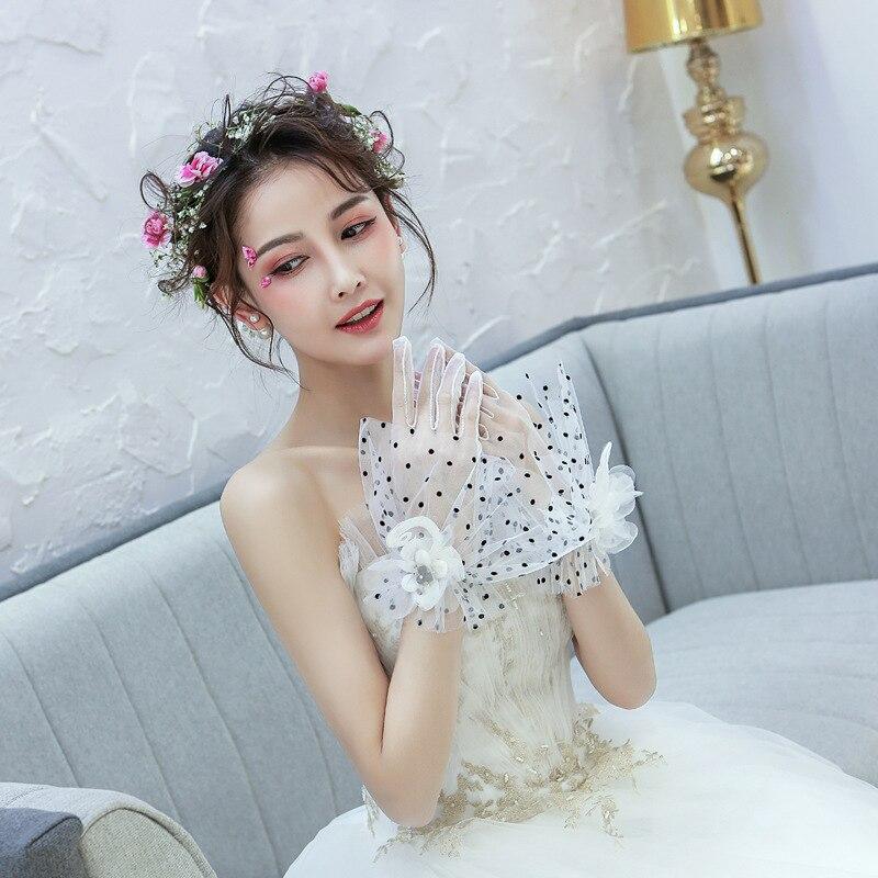 Модные короткие свадебные перчатки белые прозрачные перчатки в горошек для невесты тюлевые перчатки длинные перчатки для невесты