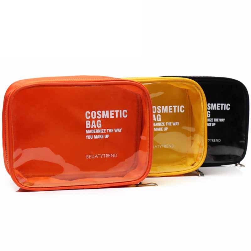 Waterproof transparent PVC cosmetic bag makeup case Ladies Candy Color Makeup Bag  Travel Organizer Toiletry Bags Beautician