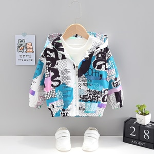 Baby Boy Clothing Fashion Letter Hooded Zipper Jacket Toddler Girl Outfits Cute Cartoon Jacket Toddler Girl Boy Autumn Clothes