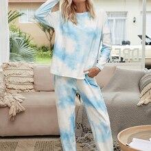 Women Pajamas Set Tie Dye Women's Pajamas Lounge Wear Homewear Suit Loungewear Set Women Sleep Wear