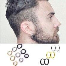 Mode femmes hommes Punk gothique en acier inoxydable Simple rond boucles doreilles amant 3 couleurs 3 taille boucle doreille bijoux