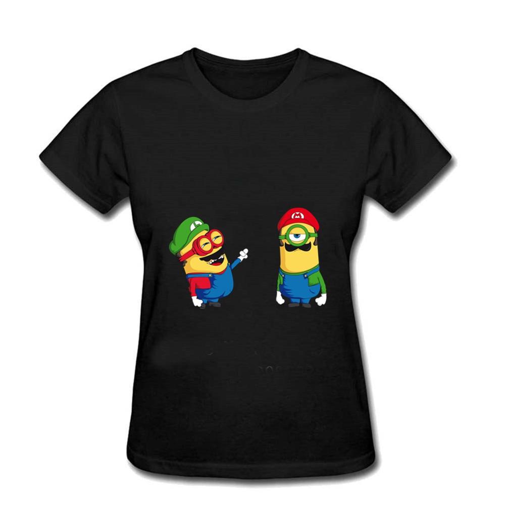 Camiseta blanca para Mujer, Ropa para gimnasio de alta costura Hip Hop 100% de algodón, Mini fontanero Super Mario Minions, Ropa para Mujer
