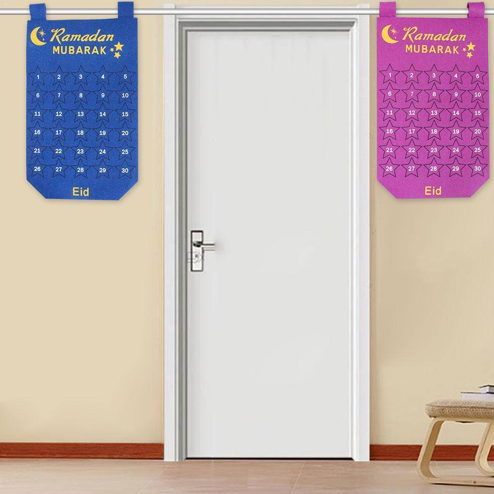 Eid Mubarak Countdown Fabric Calendar Muslim Islamic Party Calendars Diy Pink Kareem Ramadan Decoration Blue Gift Hanging T Y0L1