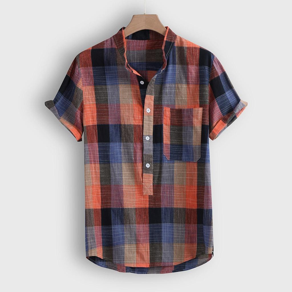 Men's Blouse Casual Button Hawaii Plaid Print Shirt Man Beach Short Sleeve Button Pocket Shirts Vintage Men Clothing Camisas vintage bowknot button embellished plaid dress