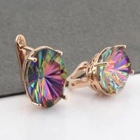 new trends 2021 women large earring oval crystal 585 rose gold dangle earrings for women wedding luxury jewelry unusual earrings