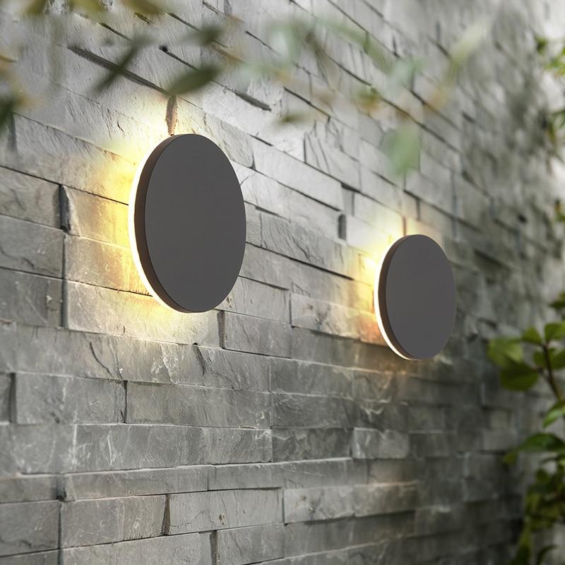 وحدة إضاءة LED جداريّة مصباح في الهواء الطلق مقاوم للماء IP65 حديقة ديكور الجدار ضوء الشرفة الممر الإضاءة الحمام تركيب المصابيح AC90-260V